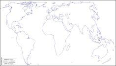 Mondo centrato Europa Africa : mappa gratuita, mappa muta gratuita, cartina muta gratuita : litorali (bianco)