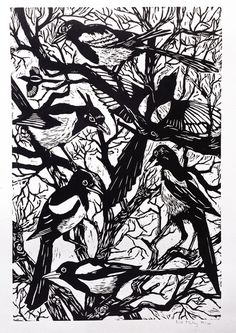 Magpies,  #illustration #woodcut by Nat Morley on The Bazaar