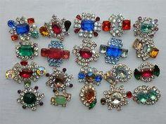 Huge Lot 20 Pieces Rhinestone AB Buttons Nice Czech Glass Vintage Jewelry | eBay