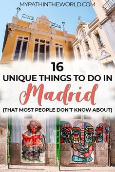 Looking for hidden gems and alternative, non touristy things to do in Madrid Spain? Here is your ultimate offbeat Madrid travel bucket list! Spain Travel Guide, Europe Travel Tips, European Travel, Travel Advice, Travel Guides, Travel Destinations, Backpacking Europe, Travel Info, Travel List