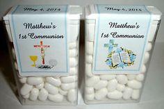 28 First Communion Party Favors Tic Tac Labels Blue | eBay
