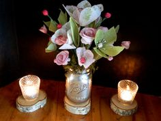 Sage and Garnet  Paper floral bouquet  Silver by papercatz on Etsy