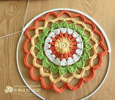 ergahandmade: Crochet Mandala + Free Pattern + Diagram Knitting ProjectsKnitting For KidsCrochet Hair StylesCrochet Baby Motif Mandala Crochet, Crochet Circles, Crochet Shawl, Crochet Doilies, Crochet Flowers, Crochet Stitches, Crochet Patterns, Crochet Diagram, Crochet Wall Art