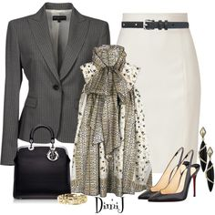 Office Look by dimij on Polyvore  Not a huge fan of the blouse, but tossing a little colour in there with that pencil skirt and blazer and I'd be set!
