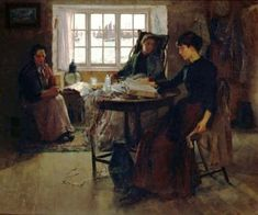 The Fisherman's Home (1881). Frank Bramley (English, 1857-1915). Oil on canvas.  During his time in Newlyn, Bramley was a particular exponent of the square brush technique, using the flat of a square brush to lay the paint on the canvas in a jigsaw...