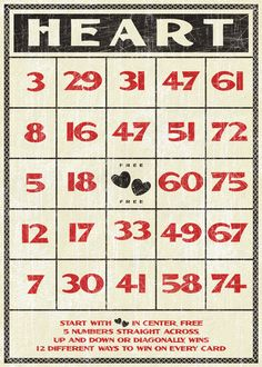 printable vintage bingo card