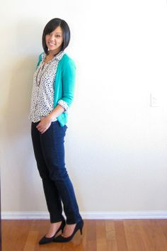 Putting Me Together - polka dot + cardi + rolled sleeves
