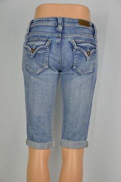 Vigoss Womens 3 Flap Pockets Distressed Rolled Cuff Light Jean Capri Pants #Vigoss #capri