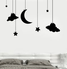 Wall Vinyl Nursery Kids Children Room Clouds And Stars Decor z3680