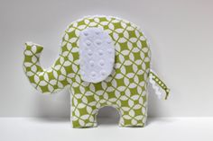 Elephant nursery pillow toy Green dots ELLE plush by LilKingdom, $24.00