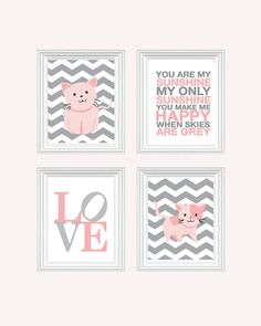 Cat Nursery Art - Baby Girl Nursery Art Kitten Nursery Prints, Pink Baby Nursery Decor, Quote Art, You Are My Sunshine
