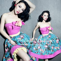 FREE SHIPPING Le palais vintage elegant vintage pin up big color block tube top puff dress US $85.00