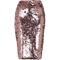 TOPSHOP Pink Sequin Pencil Skirt found on Polyvore featuring polyvore, women's fashion, clothing, skirts, bottoms, topshop, pink, pink knee length skirt, pink skirt and pencil skirts