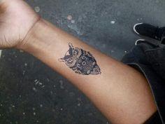 Small owl tattoo. Mehendi Mandala Art #MehendiMandalaArt #MehendiMandala @MehendiMandala