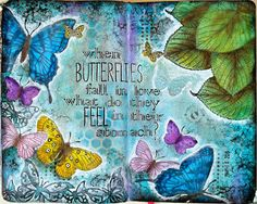 "JIJI Cards: Art journal ""When butterflies fall in love, what do they feel in their stomach?"""