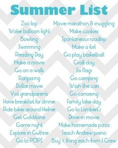 Make A Summer To Do List With The Kids