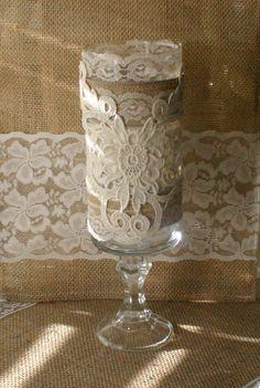Vintage burlap wedding vase, Victorian wedding centerpiece, French Country wedding vase, Vintage wedding centerpiece,. $25.00, via Etsy.
