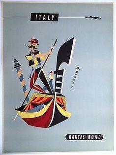 1956 QANTAS Italy Original Vintage Airline Travel Poster LINEN Rogers Australia