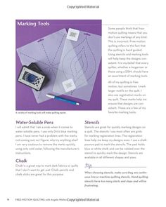 Angela Walters only uses Dritz blue marking pens.  Free-Motion Quilting with Angela, Amazon.com