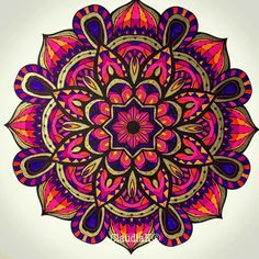 ❤⊰❁⊱ Mandala ⊰❁⊱ Mandala Painting, Mandala Art, Adult Coloring Pages, Coloring Books, Hindu Symbols, Mehndi, Circle Art, Colouring Techniques, Sacred Geometry