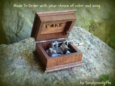 music box wooden music box custom music box by Simplycoolgifts, $54.00 Wooden Music Box, Wooden Boxes, Davy Jones Theme, Your Song Elton John, Anniversary Songs, The Lion Sleeps Tonight, Ring Bearer Gifts, Baby Mine