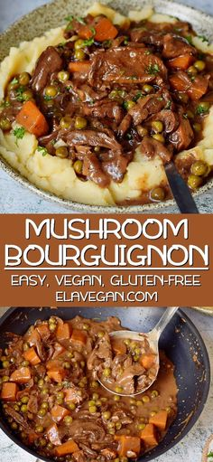 Rich and spicy vegan mushroom bourguignon, perfect for every night of the week. A creamy and savory vegetarian dish, with all aspects of the highest comfort food. This recipe is naturally gluten-free, milk-free, soy-free and easy to make. Gluten Free Chinese Food, Vegetarian Chinese Recipes, Homemade Chinese Food, Authentic Chinese Recipes, Easy Chinese Recipes, Gluten Free Vegan Recipes Dinner, Dairy Free Mushroom Recipes, Mushroom Potato Recipe, Vegetarian Recipes With Mushrooms