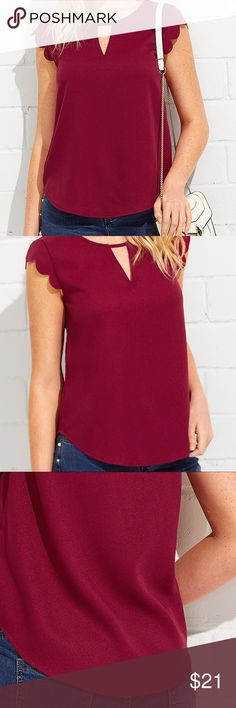 "Scallop Sleeve V Notch Top Brand New -L -100% Polyester -Bust:35"" -Waist:37"" - Length:24"" - No tears, stain, blemishes, fraying or other imperfection.   *Buy with confidence!  *No trade!  *Item identical to pictures and description.  *Message if any inquiries.   XoXo @chanywoo Tops Blouses"