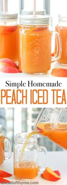Simple homemade peach iced tea is the perfect summer drink. So refreshing, so peachy, so sweet and so perfect. | aheadofthyme.com via @aheadofthyme