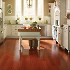 For over a century, elegant hardwood floors, of which Brazilian Cherry hardwood floors are a prime example, have graced the homes of many people because . Hardwood Tile, Kitchen Flooring, Kitchen Remodel, Cherry Hardwood Flooring, Hardwood Floors, Cherry Hardwood, Cherry Wood Floors, Cherry Kitchen, Flooring