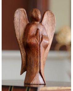 Fairtrade Dark Wooden Serene Angel Statue - 10 Cm