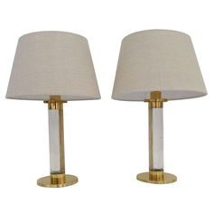 A pair of Acrylic & Brass Lamps designed by Frederick Copper | From a unique collection of antique and modern table lamps at http://www.1stdibs.com/furniture/lighting/table-lamps/