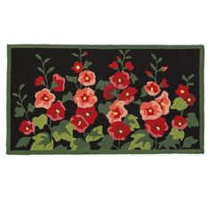 Bring a no-fuss decorative accent into your home with our Hollyhock Accent Rug. Easy-care at its best, this hand-hooked rug replicates a garden favorite flower in beautiful detail. The design of our floral accent rug features vibrant red and pink hollyhock plants set against a black background that would be perfect as the focal point for your front door or as an easy option for adding instant warmth to any room. 100percent polypropylene is hand-hooked and can be vacuumed (do not use beater attac Accent Rugs, Accent Decor, Best Doll House, Floor Painting, Rag Rug Tutorial, Rug Hooking Patterns, Rectangle Area, Polypropylene Rugs, Painted Floors