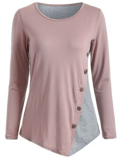 Buttoned Asymmetric Color Spliced T-Shirt