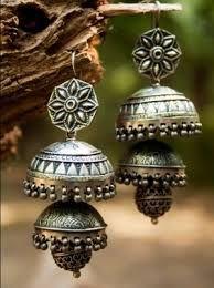silver jhumka rajasthani.
