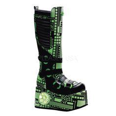 Demonia Techno-856 goth cyber UV reactive black lime circuit boots men 9 CLOSEOU…