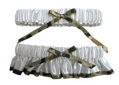 Camouflage Bridal Garter with Optional Tossing Garter $25.45; military wedding; military bride; wedding garter set; #camo #military #wedding
