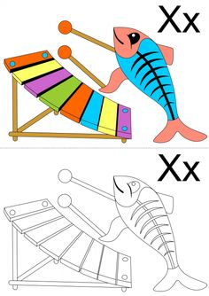 Your child is sure this fun 'X' coloring page featuring an x-ray fish playing an xylophone. For a great way to get your child talking, have them tell you what is different between their picture and the original. Alphabet Coloring Pages, Free Coloring Pages, Kids Learning, Activities For Kids, Told You So, Kids Rugs, Fish, Quilts, My Favorite Things