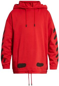 590c47c7f721 Off-White s tomato-red hooded sweatshirt is punctuated with the label s  brazen striped logo in black. It s crafted from fleece-lined cotton-jersey  to a ...