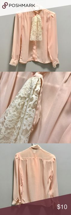Vintage - Sheer Pink Top with cream ruffle detail. Sheer Pink Top with cream ruffle detail. Small lace detail on neckline and sleeves. Button down top. glances - los angeles & new york Tops Blouses