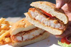 The signature sandwich at The Blue Shrimp in Puerto Vallarta. It is whole shrimp tempura battered and fried. Blue Shrimp, Shrimp Burger, Tempura Batter, Shrimp Tempura, Puerto Vallarta, Fries, Salads, Sandwiches, Food