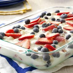 Patriotic Frozen Delight Recipe -My husband and I pick lots of fruit at berry farms in the area and freeze it to enjoy all year long. This frozen dessert showcases both blueberries and strawberries and has a refreshing lemon flavor. —Bernice Russ, Bladenboro, North Carolina
