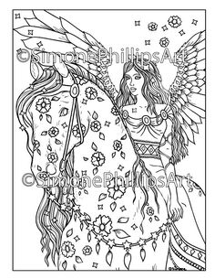 Angel on Horseback Horse Coloring Pages, Coloring Books, Angels On Horseback, Human Wings, Printable Adult Coloring Pages, Halloween Coloring, Digital Stamps, Collage Sheet, Drawings