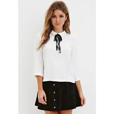 Forever 21 Forever 21 Women's  Self-Tie Collared Blouse featuring polyvore, fashion, clothing, tops, blouses, tie collar blouse, self tie blouse, forever 21 tops, 3/4 sleeve tops and three quarter sleeve tops