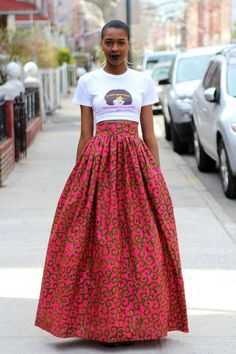 Blend Your Style With Tank Tops And Ankara Long Skirt. Unique Ankara styles are waiting for you! In this season there are even more bright colours, quality fabrics, and unusual [. African Inspired Fashion, African Print Fashion, Africa Fashion, Fashion Prints, African Prints, African Fabric, African Fashion Skirts, Ankara Fashion, Ankara Fabric