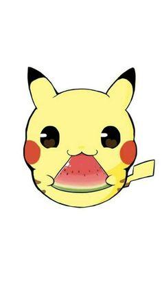 Pikachu eat watermelon