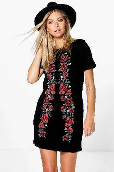 #boohoo Printed Embroidered Shift Dress - black DZZ71945 #Pared back day dresses are the perfect base for layering up this seasonNo off-duty wardrobe is complete without a casual day dress. Basic bodycon dresses are always a winner and casual cami dresses a key piece for pairing with a polo neckandcomma; giving you that effortless everyday edge. Tone down the twinkle for day by teaming a sequin slip dress with a jersey tee ? genius! Soandcomma; if you ever get caught out for…