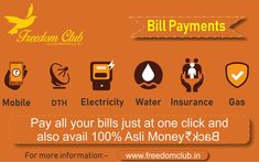 Pay all your bills through #FreedomClub and get 100% #asliMoneyback visit Now: http://www.freedomclub.in/  #BillPayments #MobileRecharge #Gas #DTH #Electricity #Water #INsurance #Financial #Business