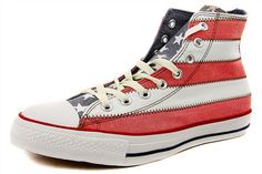 Converse+All+Star+Hi-Top+Flag+Stripe+Trainers+-+White/Red+|124274|+:+