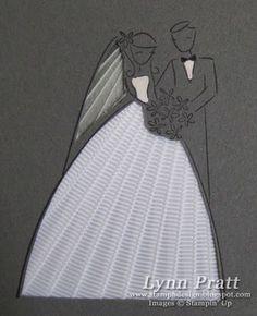 wedding card... using ribbon-weave technique (like iris folding, but with ribbon)