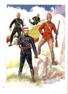 The battle of Ingoro,8 February 1881 1:Mounted infantryman,58th Regiment.2:General Sir George Colley.3:Private,3/60th Rifles.